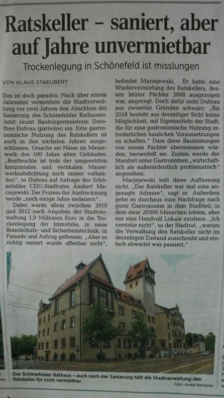Ratskeller bleibt ein geschlossener Rathaus-Keller
